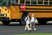 Children walking away from school bus